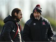 26 February 2021; Dundalk coach Filippo Giovagnoli, right, and academy manager Stephen McDonnell prior to the pre-season friendly match between Dundalk and Bohemians at Oriel Park in Dundalk, Louth. Photo by Seb Daly/Sportsfile