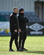 26 February 2021; Bohemians manager Keith Long, right, and assistant manager Trevor Croly prior to the pre-season friendly match between Dundalk and Bohemians at Oriel Park in Dundalk, Louth. Photo by Seb Daly/Sportsfile