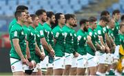 27 February 2021; The Ireland team, led by captain Jonathan Sexton, left, line up for the anthems prior to the Guinness Six Nations Rugby Championship match between Italy and Ireland at Stadio Olimpico in Rome, Italy. Photo by Roberto Bregani/Sportsfile