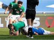 27 February 2021; Garry Ringrose of Ireland scores his side's first try during the Guinness Six Nations Rugby Championship match between Italy and Ireland at Stadio Olimpico in Rome, Italy. Photo by Roberto Bregani/Sportsfile