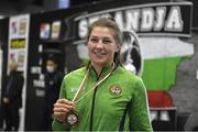 27 February 2021; Aoife O'Rourke of Ireland with her women's middleweight 75kg bronze medal at the AIBA Strandja Memorial Boxing Tournament in Sofia, Bulgaria. Photo by Alex Nicodim/Sportsfile