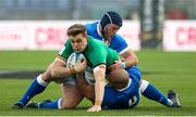 27 February 2021; Garry Ringrose of Ireland is tackled by Luca Bigi and Marco Lazzaroni during the Guinness Six Nations Rugby Championship match between Italy and Ireland at Stadio Olimpico in Rome, Italy. Photo by Roberto Bregani/Sportsfile