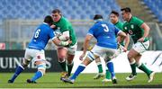 27 February 2021; Tadhg Furlong of Ireland, supported by team-mate Rónan Kelleher, is tackled by Sebastian Negri of Italy during the Guinness Six Nations Rugby Championship match between Italy and Ireland at Stadio Olimpico in Rome, Italy. Photo by Roberto Bregani/Sportsfile