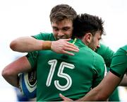 27 February 2021; Garry Ringrose of Ireland, left, congratulates team-mate Hugo Keenan, 15, on scoring their side's second try during the Guinness Six Nations Rugby Championship match between Italy and Ireland at Stadio Olimpico in Rome, Italy. Photo by Roberto Bregani/Sportsfile