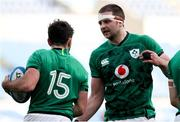 27 February 2021; Iain Henderson of Ireland, left, congratulates team-mate Hugo Keenan, 15, on scoring their side's second try during the Guinness Six Nations Rugby Championship match between Italy and Ireland at Stadio Olimpico in Rome, Italy. Photo by Roberto Bregani/Sportsfile