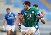 27 February 2021; Hugo Keenan of Ireland makes a break on the way to scoring his side's second try during the Guinness Six Nations Rugby Championship match between Italy and Ireland at Stadio Olimpico in Rome, Italy. Photo by Roberto Bregani/Sportsfile