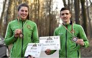 27 February 2021; Aoife O'Rourke of Ireland with her women's middleweight 75kg bronze medal and Brendan Irvine of Ireland with his men's flyweight 52kg bronze medal outside of the Arena Sofia Hall at the AIBA Strandja Memorial Boxing Tournament in Sofia, Bulgaria. Photo by Alex Nicodim/Sportsfile