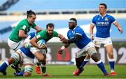 27 February 2021; Jamison Gibson-Park of Ireland is tackled by Cherif Traore of Italy during the Guinness Six Nations Rugby Championship match between Italy and Ireland at Stadio Olimpico in Rome, Italy. Photo by Roberto Bregani/Sportsfile