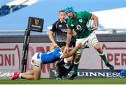 27 February 2021; Tadhg Beirne of Ireland is tackled by Jacopo Trulla of Italy during the Guinness Six Nations Rugby Championship match between Italy and Ireland at Stadio Olimpico in Rome, Italy. Photo by Roberto Bregani/Sportsfile