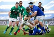 27 February 2021; Garry Ringrose of Ireland is tackled by Carlo Canna and David Sisi of Italy during the Guinness Six Nations Rugby Championship match between Italy and Ireland at Stadio Olimpico in Rome, Italy. Photo by Roberto Bregani/Sportsfile