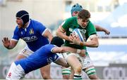 27 February 2021; Garry Ringrose of Ireland is tackled by Carlo Canna of Italy during the Guinness Six Nations Rugby Championship match between Italy and Ireland at Stadio Olimpico in Rome, Italy. Photo by Roberto Bregani/Sportsfile
