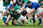 27 February 2021; Iain Henderson of Ireland is tackled by Cherif Traore and David Sisi of Italy during the Guinness Six Nations Rugby Championship match between Italy and Ireland at Stadio Olimpico in Rome, Italy. Photo by Roberto Bregani/Sportsfile