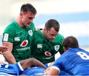 27 February 2021; Rónan Kelleher, left, and Cian Healy of Ireland during the Guinness Six Nations Rugby Championship match between Italy and Ireland at Stadio Olimpico in Rome, Italy. Photo by Roberto Bregani/Sportsfile