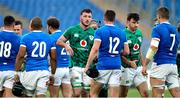 27 February 2021; Will Connors, centre, and Hugo Keenan of Ireland with Italian players after the Guinness Six Nations Rugby Championship match between Italy and Ireland at Stadio Olimpico in Rome, Italy. Photo by Roberto Bregani/Sportsfile