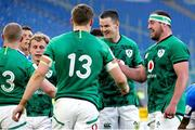 27 February 2021; Ireland captain Jonathan Sexton, centre, celebrates with team-mates including Craig Casey, Garry Ringrose and Rob Herring after they scored their their final try during the Guinness Six Nations Rugby Championship match between Italy and Ireland at Stadio Olimpico in Rome, Italy. Photo by Roberto Bregani/Sportsfile