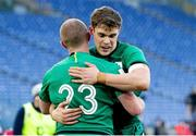 27 February 2021; Garry Ringrose of Ireland, right, congratulates team-mate Keith Earls after scoring their side's final try during the Guinness Six Nations Rugby Championship match between Italy and Ireland at Stadio Olimpico in Rome, Italy. Photo by Roberto Bregani/Sportsfile