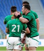 27 February 2021; Craig Casey of Ireland, left, is congratulated by team-mate Cian Healy during the Guinness Six Nations Rugby Championship match between Italy and Ireland at Stadio Olimpico in Rome, Italy. Photo by Roberto Bregani/Sportsfile