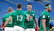27 February 2021; Ireland captain Jonathan Sexton, centre, celebrates with team-mate Garry Ringrose during the Guinness Six Nations Rugby Championship match between Italy and Ireland at Stadio Olimpico in Rome, Italy. Photo by Roberto Bregani/Sportsfile
