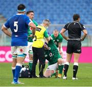 27 February 2021; Cian Healy of Ireland is attended toby medical personnel during the Guinness Six Nations Rugby Championship match between Italy and Ireland at Stadio Olimpico in Rome, Italy. Photo by Roberto Bregani/Sportsfile