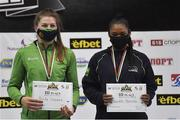 27 February 2021; Aoife O'Rourke of Ireland, left, and Viviane Perejra of Brazil with their women's middleweight 75kg bronze medals at the AIBA Strandja Memorial Boxing Tournament in Sofia, Bulgaria. Photo by Alex Nicodim/Sportsfile