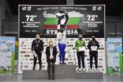 27 February 2021; Medallists of the women's middleweight 75kg, from left, silver medallist Nadezhda Raybets of Kazakhstan, gold medallist Naomi Graham of United States and bronze medallists Aoife O'Rourke of Ireland and Viviane Perejra of Brazil at the AIBA Strandja Memorial Boxing Tournament in Sofia, Bulgaria. Photo by Alex Nicodim/Sportsfile