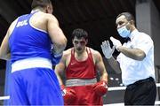 27 February 2021; Narek Manasyan of Armenia during the men's heavyweight 91kg final bout at the AIBA Strandja Memorial Boxing Tournament in Sofia, Bulgaria. Photo by Alex Nicodim/Sportsfile