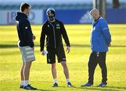 28 February 2021; Leinster Senior Performance Analyst Brian Colclough, left, with Glasgow Warriors head of strength and conditioning Cillian Reardon, centre, and Leinster Kitman Jim Bastick ahead of the Guinness PRO14 match between Leinster and Glasgow Warriors at the RDS Arena in Dublin. Photo by Ramsey Cardy/Sportsfile
