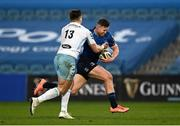 28 February 2021; Rory O'Loughlin of Leinster is tackled by Huw Jones of Glasgow Warriors during the Guinness PRO14 match between Leinster and Glasgow Warriors at the RDS Arena in Dublin. Photo by Harry Murphy/Sportsfile