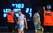 28 February 2021; Adam Hastings of Glasgow Warriors receives a red card from Referee Frank Murphy during the Guinness PRO14 match between Leinster and Glasgow Warriors at the RDS Arena in Dublin. Photo by Ramsey Cardy/Sportsfile
