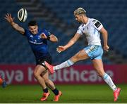 28 February 2021; Adam Hastings of Glasgow Warriors in action against Cian Kelleher of Leinster during the Guinness PRO14 match between Leinster and Glasgow Warriors at the RDS Arena in Dublin. Photo by Ramsey Cardy/Sportsfile