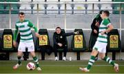 28 February 2021; Robbie Keane, a member of the Shamrock Rovers backroom team, issues instructions during the pre-season friendly match between Shamrock Rovers and Cork City at Tallaght Stadium in Dublin. Photo by Stephen McCarthy/Sportsfile