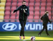 28 February 2021; Robbie Keane, a member of the Shamrock Rovers backroom team, before the pre-season friendly match between Shamrock Rovers and Cork City at Tallaght Stadium in Dublin. Photo by Stephen McCarthy/Sportsfile