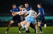 28 February 2021; Oli Kebble of Glasgow Warriors is tackled by Scott Penny, left, and Peter Dooley of Leinster during the Guinness PRO14 match between Leinster and Glasgow Warriors at the RDS Arena in Dublin. Photo by Ramsey Cardy/Sportsfile