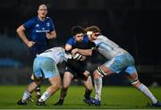 28 February 2021; Jimmy O'Brien of Leinster is tackled by Grant Stewart, left, and Rob Harley of Glasgow Warriors during the Guinness PRO14 match between Leinster and Glasgow Warriors at the RDS Arena in Dublin. Photo by Ramsey Cardy/Sportsfile