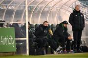 28 February 2021; Robbie Keane, a member of the Shamrock Rovers backroom team, centre, with Shamrock Rovers sporting director Stephen McPhail and Shamrock Rovers coach Glenn Cronin, right, during the pre-season friendly match between Shamrock Rovers and Cork City at Tallaght Stadium in Dublin. Photo by Stephen McCarthy/Sportsfile