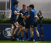 28 February 2021; Luke McGrath of Leinster celebrates after scoring his side's third try withteam-mates,  from left, Alex Soroka, Josh van der Flier and Jimmy O'Brien during the Guinness PRO14 match between Leinster and Glasgow Warriors at the RDS Arena in Dublin. Photo by Harry Murphy/Sportsfile