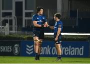 28 February 2021; Alex Soroka, left, and Rowan Osborne of Leinster fist bump following the Guinness PRO14 match between Leinster and Glasgow Warriors at the RDS Arena in Dublin. Photo by Harry Murphy/Sportsfile