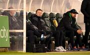 28 February 2021; Robbie Keane, a member of the Shamrock Rovers backroom team, and Shamrock Rovers sporting director Stephen McPhail, right, during the pre-season friendly match between Shamrock Rovers and Cork City at Tallaght Stadium in Dublin. Photo by Stephen McCarthy/Sportsfile