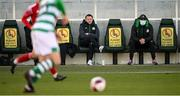 28 February 2021; Shamrock Rovers sporting director Stephen McPhail, right, and Robbie Keane watch on during the pre-season friendly match between Shamrock Rovers and Cork City at Tallaght Stadium in Dublin. Photo by Stephen McCarthy/Sportsfile