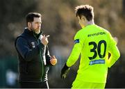 28 February 2021; Shamrock Rovers manager Stephen Bradley speaks to Killian Cahill during the pre-season friendly match between Shamrock Rovers and Cobh Ramblers at Roadstone Group Sports Club in Dublin. Photo by Stephen McCarthy/Sportsfile