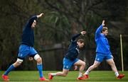 2 March 2021; Devin Toner, left, Seán Cronin, centre, and James Tracy during Leinster Rugby squad training at UCD in Dublin. Photo by Ramsey Cardy/Sportsfile
