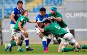 27 February 2021; Montanna Ioane of Italy is tackled by Craig Casey, left, and James Ryan of Ireland during the Guinness Six Nations Rugby Championship match between Italy and Ireland at Stadio Olimpico in Rome, Italy. Photo by Roberto Bregani/Sportsfile