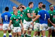 27 February 2021; Ireland players, from left, Craig Casey, Hugo Keenan, Ryan Baird, Tadhg Beirne after the Guinness Six Nations Rugby Championship match between Italy and Ireland at Stadio Olimpico in Rome, Italy. Photo by Roberto Bregani/Sportsfile