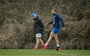 2 March 2021; Ross Molony and Senior Injury and Rehabilitation Coach Diarmaid Brennan during Leinster Rugby squad training at UCD in Dublin. Photo by Ramsey Cardy/Sportsfile