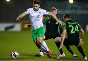 3 March 2021; Luke Clucas of Cabinteely in action against Liam Scales and Max Murphy of Shamrock Rovers during the pre-season friendly match beween Shamrock Rovers and Cabinteely at Tallaght Stadium in Dublin. Photo by Seb Daly/Sportsfile