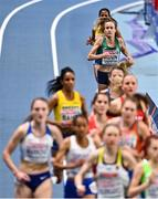 4 March 2021; Michelle Finn of Ireland trails the field in the Women's 3000m heats during the European Indoor Athletics Championships at Arena Torun in Torun, Poland. Photo by Sam Barnes/Sportsfile