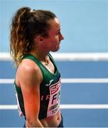 4 March 2021; Michelle Finn of Ireland after finishing ninth in her heat of Women's 3000m during the European Indoor Athletics Championships at Arena Torun in Torun, Poland. Photo by Sam Barnes/Sportsfile