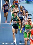 4 March 2021; Andrew Coscoran of Ireland on his way to finishing third in his heat of the Men's 1500m during the European Indoor Athletics Championships at Arena Torun in Torun, Poland. Photo by Sam Barnes/Sportsfile