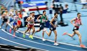 4 March 2021; Marcin Lewandowski of Poland and Paul Robinson of Ireland, centre, competing in the Men's 1500m heats during the European Indoor Athletics Championships at Arena Torun in Torun, Poland. Photo by Sam Barnes/Sportsfile