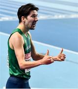 4 March 2021; Paul Robinson of Ireland after finishing third in his heat of the Men's 1500m during the European Indoor Athletics Championships at Arena Torun in Torun, Poland. Photo by Sam Barnes/Sportsfile